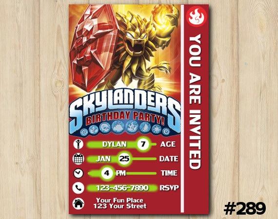 Skylanders Invitation Trap Team Card Birthday Party Custom Printable File DIY289