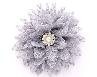Gray Lace Flower for Headbands Dress Sash Wedding Baby Shower Flower Decor DIY Project Gray Fabric Flower with Pearl Center
