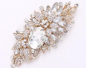 Gold Bridal Brooch, Large Gold Crystal Brooch, Rhinestone Gold Wedding Brooch, DIY Wedding Crafts, Rhinestone Gold Broaches for Wedding