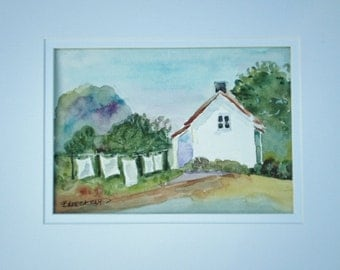 Country Watercolor, country scene, original watercolor