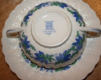 double handled soup bowls and saucers in valencia by copeland spode england set of three