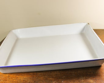 Antique Enamel Film Developing Tray Large, Porcelain White w/ Blue Rim Chemical Pan, Eastman Kodak Photography Chemical Tray - 1930s Vintage