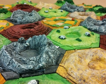 3D Settlers of Catan resource tiles