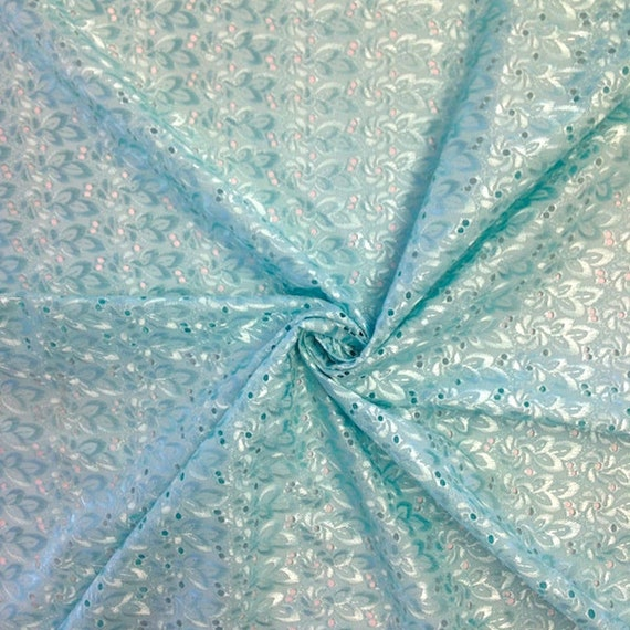 Aqua blue eyelet floral embroidery fabric