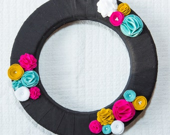 """14"""" Wreath Simple Modern Chic in Black/White/Teal/Gold/Pink"""