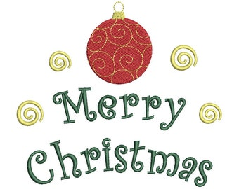 Merry Christmas Machine Embroidery Design - 3 Sizes