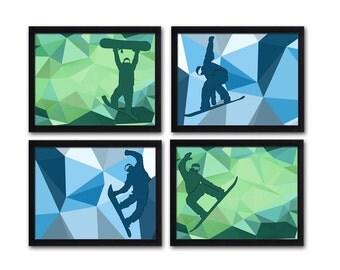 Boys wall art, snowboard art, snowboarder, snowboarding, sports art, boys room art, geometric art, Nursery Printable
