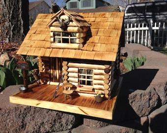 Custom Hand Made Miniature Log Cabin  / Birdhouse