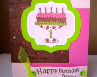 Bright, Vibrant Multi-Layered Happy Birthday Card with Green, Pink and Brown colors, embellished with stampings and ribbon.