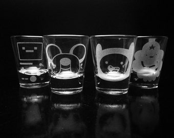 Adventure Time Shot Glass Set- Jake- Finn- Lumpy Space Princess- Beemo- Deep Etched