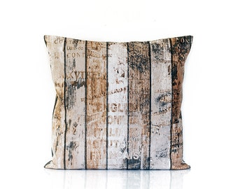 Rustic pillow cover, Wood pillow, old wood, wood grain cover, home decor pillow, 16x16, urban cushion, throw pillow, toss, decoration pillow
