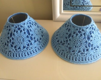 Blue Crocheted Lampshades Re-purposed Handmade Lampshades Set of 2