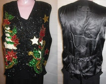 Holiday sequin vest