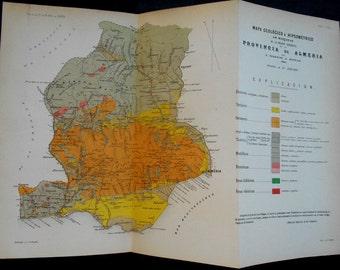 1879: Province of Almeria, Spain. Gergal, Sierra Nevada, Sierra Gador, Berja, El Ejida. Rare Geologic Map by Frederico de Botella.  Antique