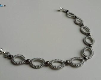 Tatted bracelet light grey silver handmade crochet jewellery unique, elegant, lacy lace cotton thread crochet jewerly