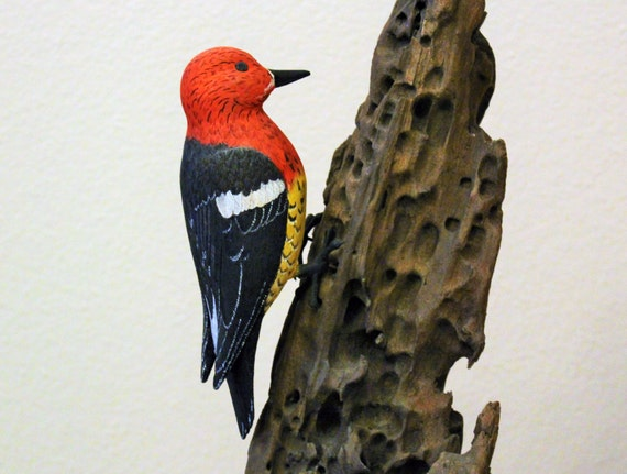 Red Headed Woodpecker Bird Carving