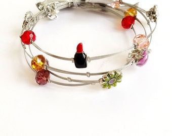 Lipstick (Red) Wired Bracelet