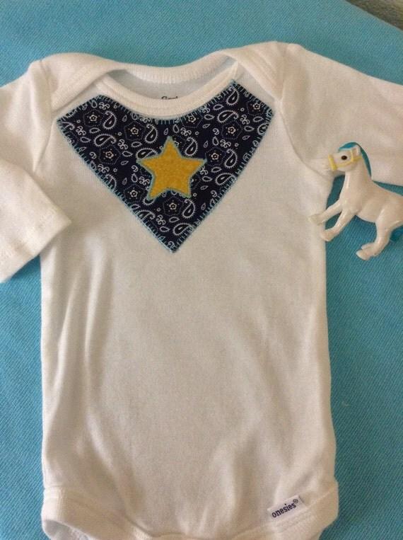Baby boy bandana initial appliqué onesie