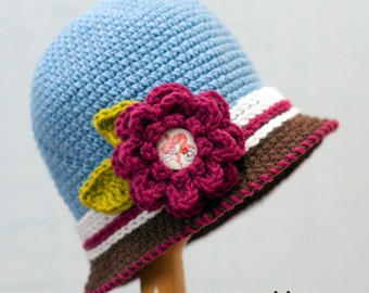 Baby Hat Pattern, Crochet baby hat pattern, baby hats for girls, crochet baby hat, hat pattern, Hat Cloche, Baby Hat with Flower