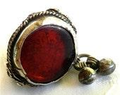 Yemen Silver Bedouin Yemen Ornamental Ring with Red Glass Gem