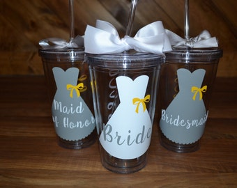 THREE Bridal Party Tumblers // Wedding Gift / Thank You Gift / Bachelortte Party / 16oz Tumbler