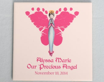 Angel Footprints Ceramic Tile Plaque - Created Using Baby's Actual Footprints