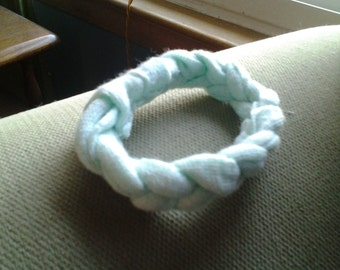 Mint green, braided cotton bracelet.