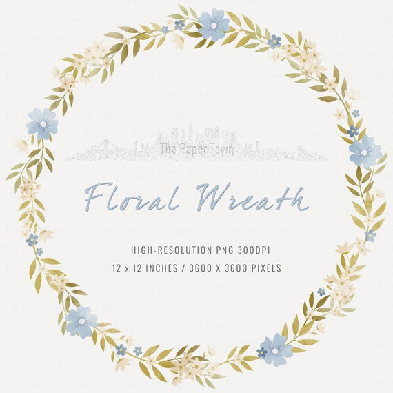 blue rustic floral wreath clipart rustic wedding flowers clipart 12x12 1 image