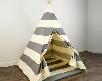 Kids Play Teepee and Play Mat in Gray and Natural Beige Khaki Tan Large Horizontal Stripe : childrens play tent - memphite.com