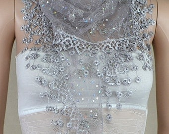 Gray bud silk scarf triangle, stereoscopic embroidery lace fringe scarf, paillette adornment scarf, shawl