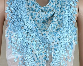 Lake blue chiffon scarf, pure and fresh and small broken flower scarf, lace tassels triangle scarf, shawl