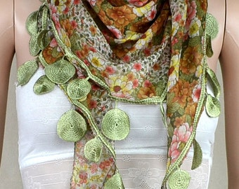 Irregular triangle scarf, flower printed scarf, lacy scarves