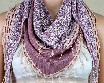 Triangle scarf purple double stitching scarf, lace, qiu dong the adornment of the scarf, shawl