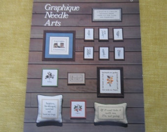 Graphique Needle Arts 1977,20 patterns, cross stitch,herbs,fruit,hello,golf