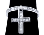 925 Sterling Silver Cross Cubic Zirconia Band Dangling Cross Charm CZ Ring