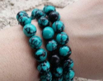 10mm Round Reconstituted Turquoise Bracelet