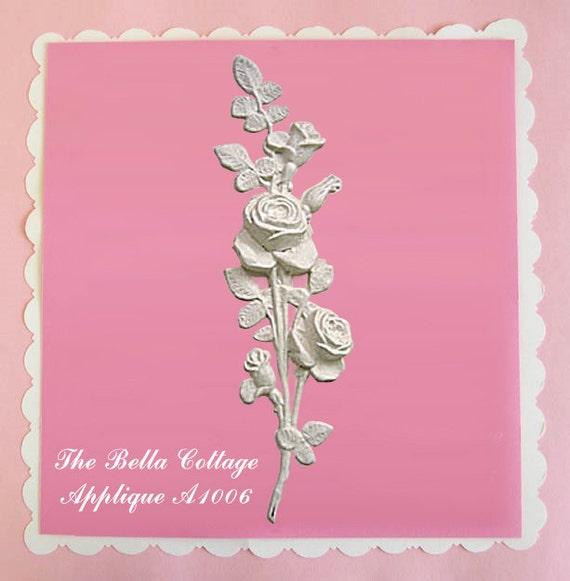 Shabby large roses furniture applique cottage vintage chic for Applique furniture decoration
