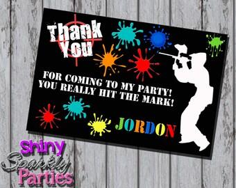 Printable PAINTBALL THANK YOU Card - Paintball Party Thank You Notes - Paintball Note Card - Paintball Birthday Thank You Cards