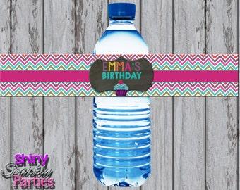 Printable CUPCAKE WATER BOTTLE Labels - Cupcake Birthday Water Bottle Wrappers - Little Cupcake Party Decorations - Cupcake Water Wraps