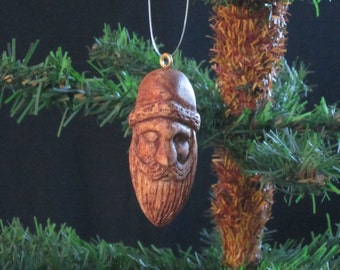 Hand Carved Wood Santa Claus Ornament