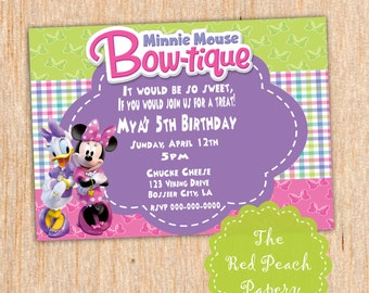 Minnie Mouse Boutique Birthday Invitation