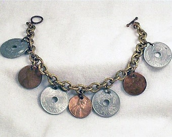 Deb Bracelet,money bracelet,bracelet,unusal bracelet,cancer awareness, unique bracet, coin bracelet,danish bracelet