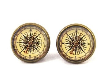 Compass Earrings Stud Jewelry (with jewelry box)