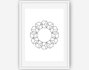 Geometric Art, Cube Wall Art, Abstract Wall Art, Black and White Print, Printable, Instant Download