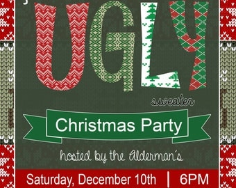 Ugly Sweater Christmas Party Invitation 5x7