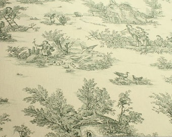 Fabric pure cotton ivory Toile de Jouy rural green country side 280 cm wide typical