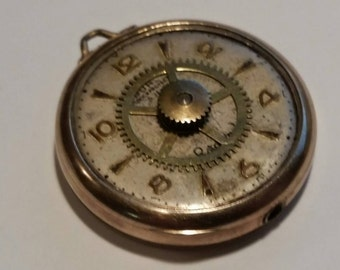 Steampunk Gold Pocket watch pendant