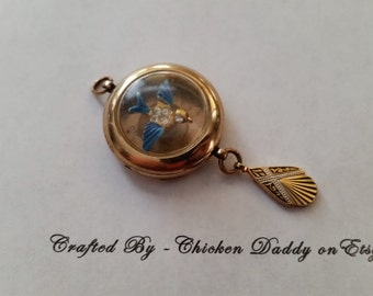 Steampunk Blue Bird Art Nouveau wrist watch Keepsake Locket
