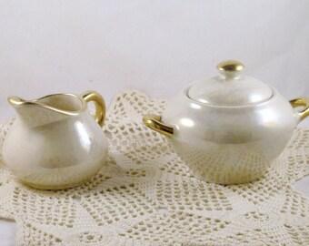 Vintage Iridescent Creamer and Sugar Bowl