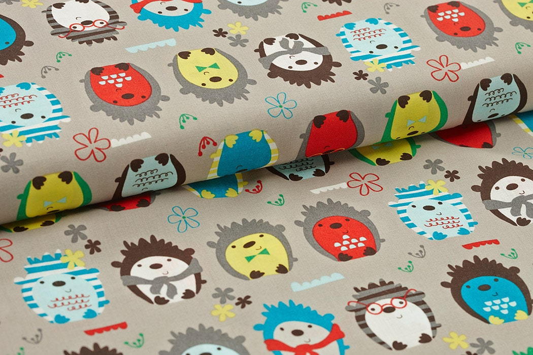 Cotton fabric hedgehog print fabric children by colouraddict for Childrens patterned fabric